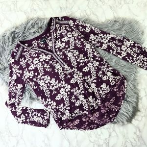 Lucky Brand Floral Purple Tunic Sz Small